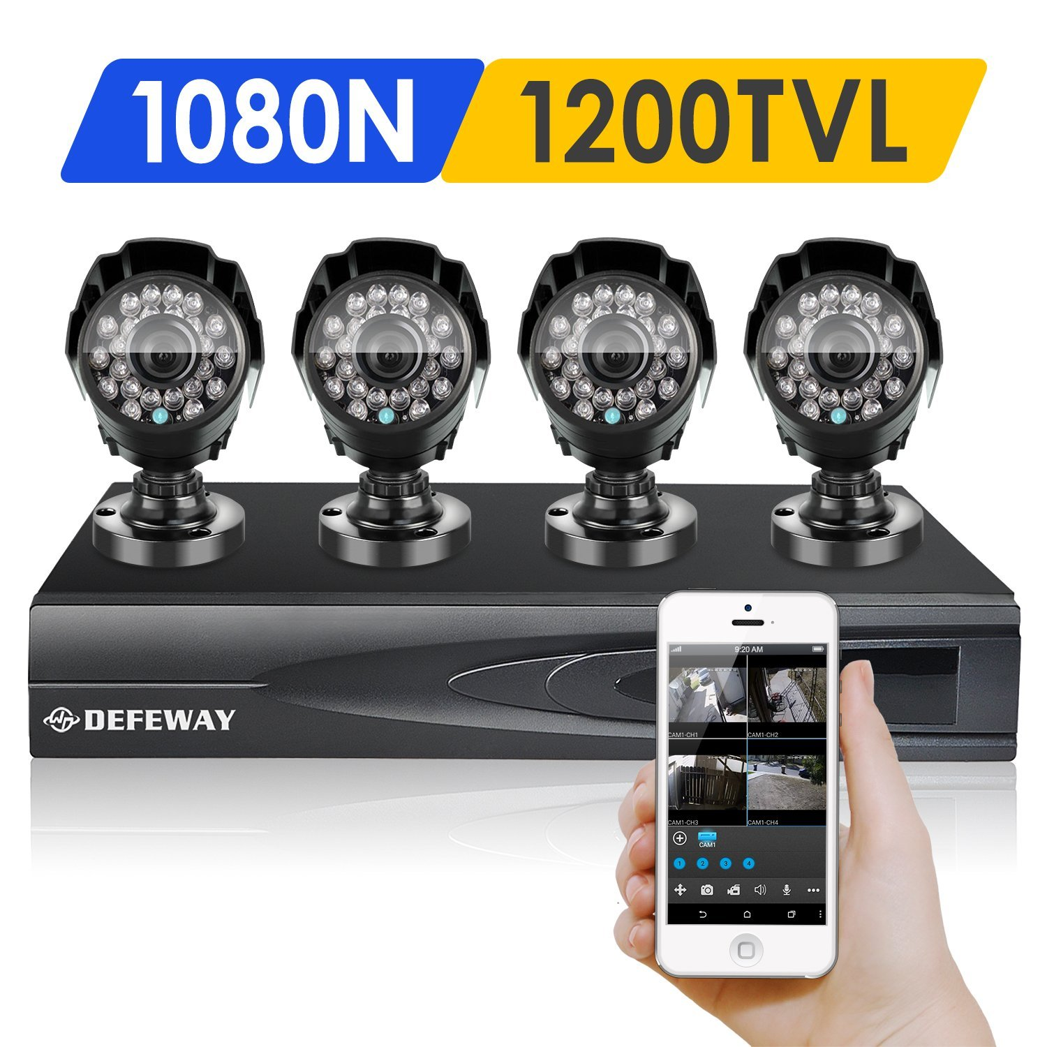 DEFEWAY 1080N DVR 1200TVL 720P HD Outdoor Home Security Video Surveillance Camera System