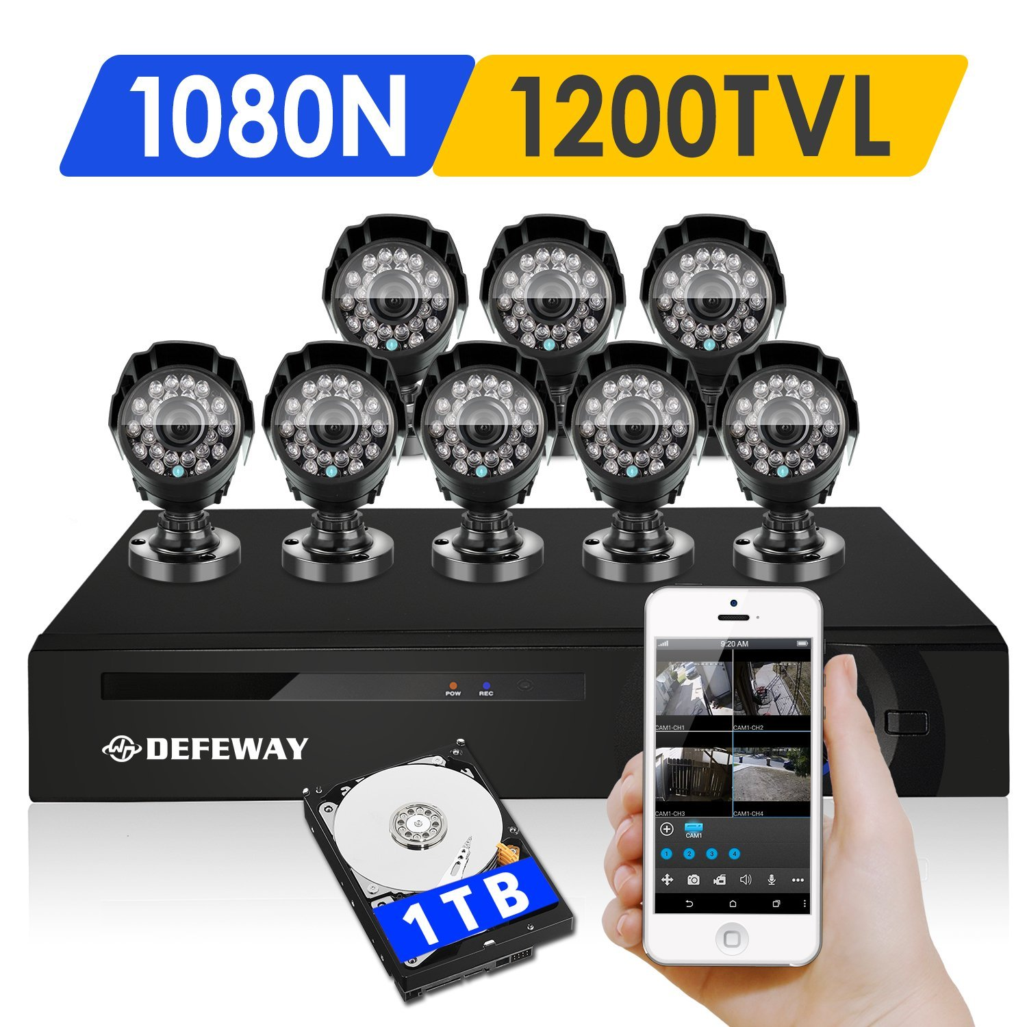 DEFEWAY 8 Outdoor 720P HD 1200TVL Home Security Camera System