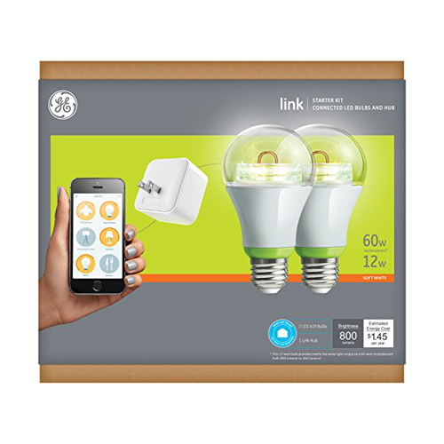 GE Link Starter Kit 1 Hub and 2 A19 Bulbs Soft White Works with Amazon Alexa