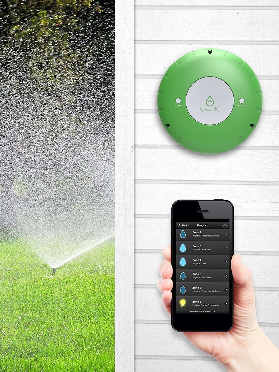 GreenIQ Smart Sprinkler Controller 6 Zone Wi-Fi Waterproof Hub