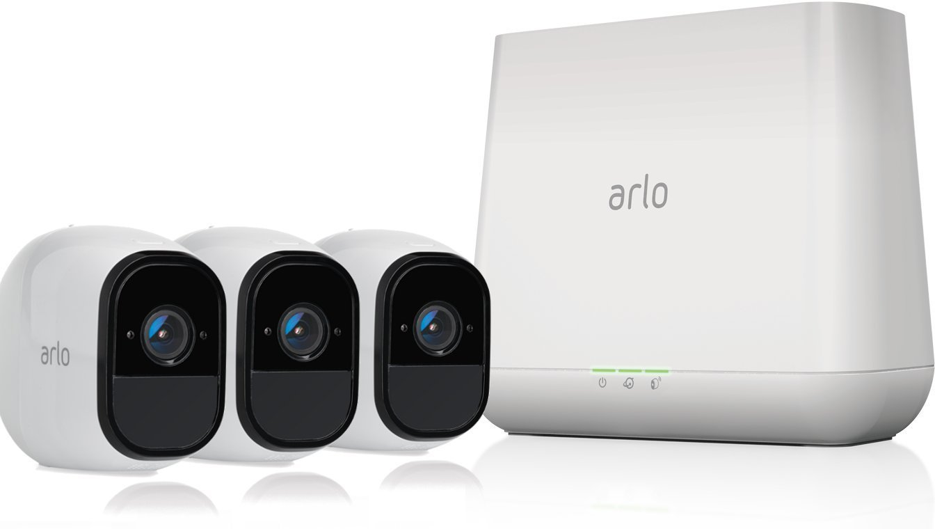 Netgear Arlo Pro Security System with Siren 3 Wire-Free HD Cameras Indoor Outdoor Night Vision