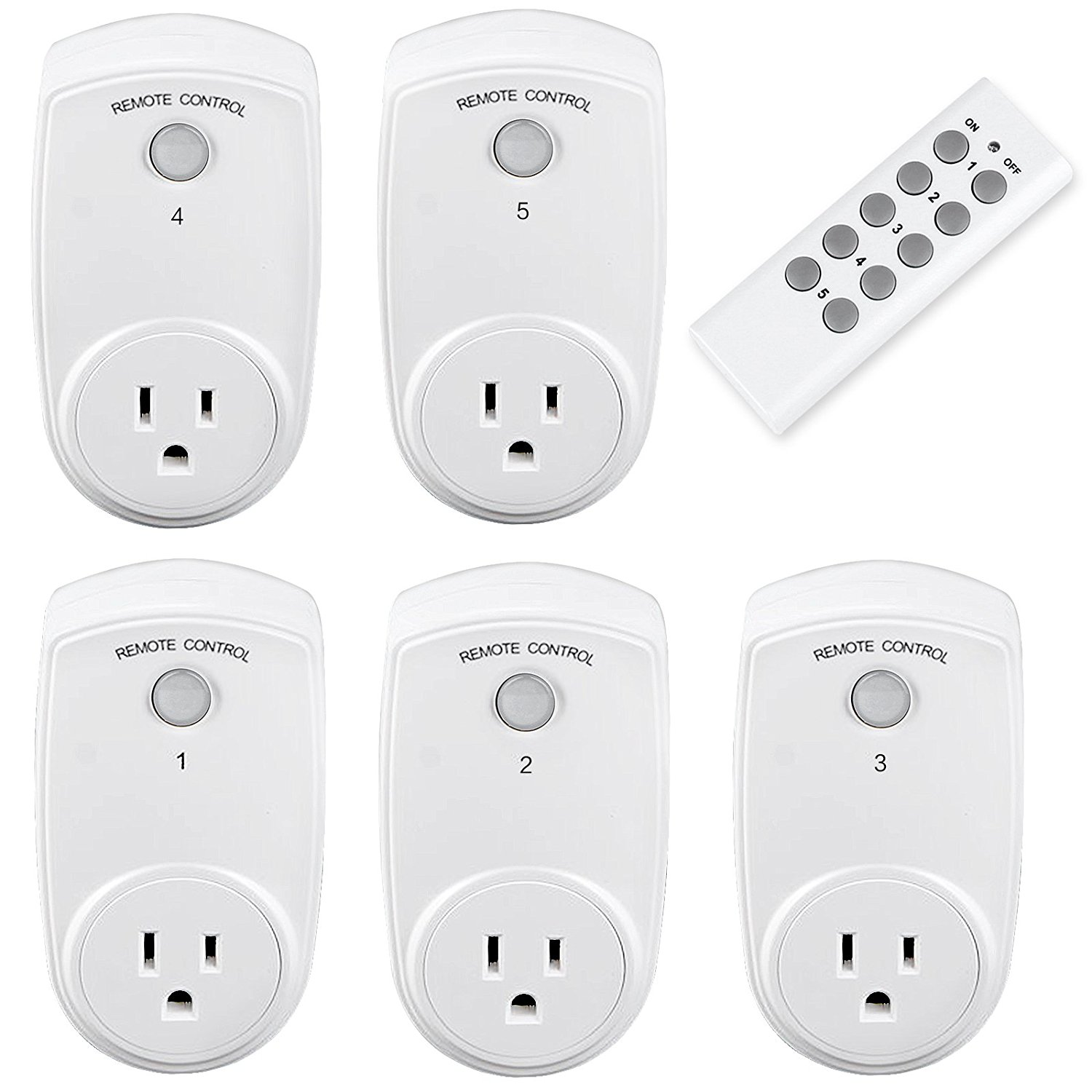 Oittm 5 in 1 Wireless Remote Control Outlet Light Switch