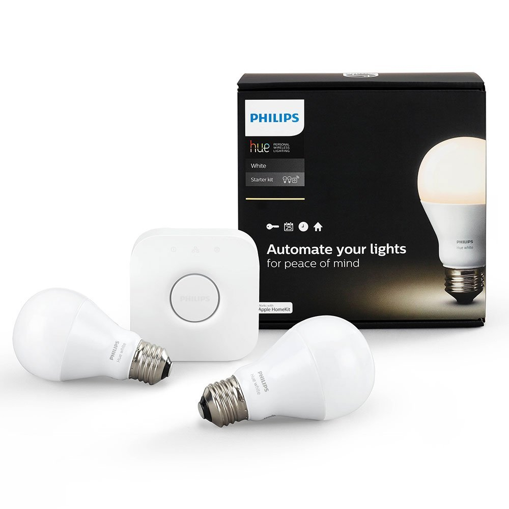 Philips Hue White A19 Starter Kit with two A19 LED light bulbs and bridge