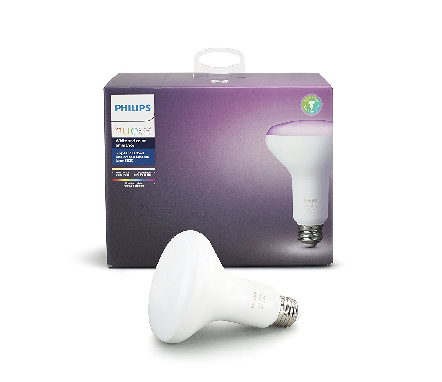 Philips Hue White and Color Ambiance BR30 60W Equivalent Dimmable LED Smart Flood Light