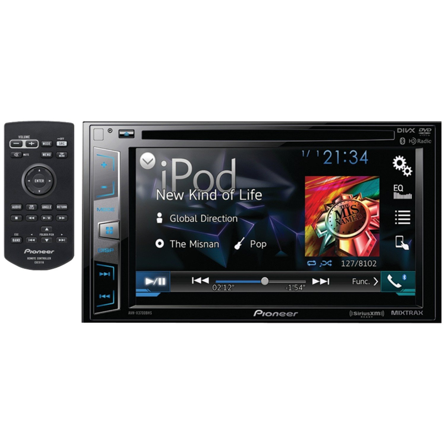 Pioneer DVD Receiver Bluetooth Siri Eyes Free SiriusXM-Ready HD Radio Android Music Support Pandora and Dual Camera Inputs