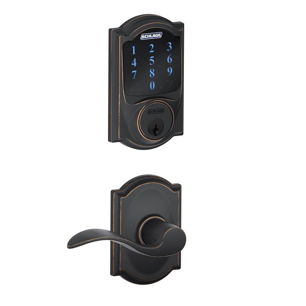 Schlage Connect Camelot Touchscreen Deadbolt with Built-In Alarm and Accent Passage Lever