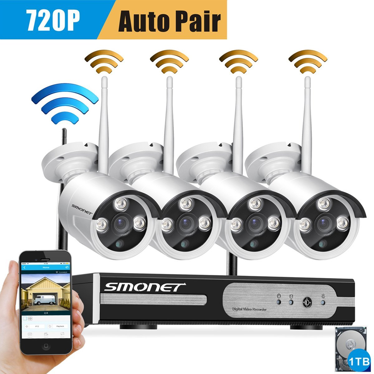 Smonet 4CH 720P HD NVR Wireless Security CCTV Surveillance Systems