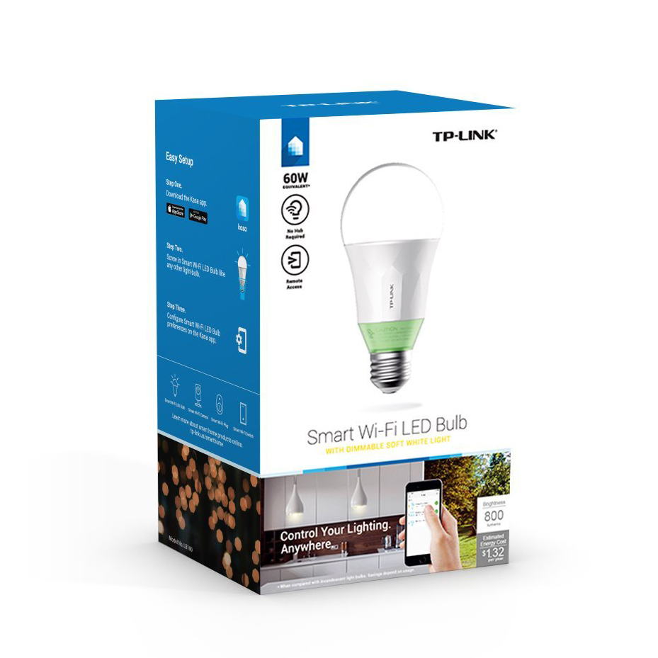 TP-Link Smart LED Light Bulb Wi-Fi A19 Dimmable White 60W Equivalent