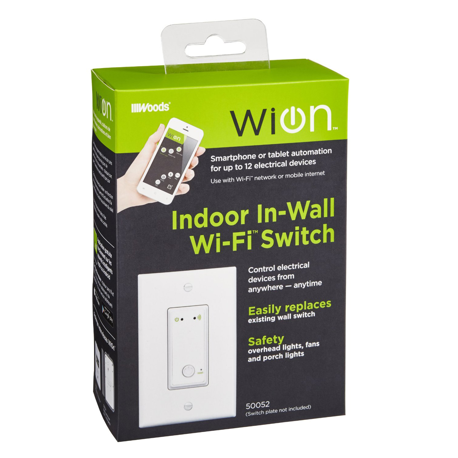 WiOn Indoor Wi-Fi Light Switch Wireless In-Wall Switch Programmable Timer