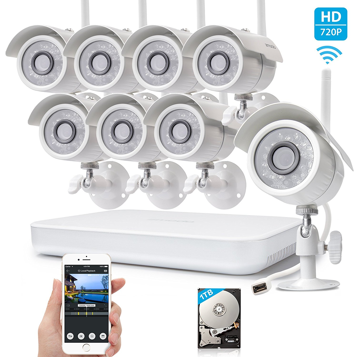 Zmodo 720p HD 1 0 Megapixel Wireless Outdoor Indoor Video Surveillance IP Network Security Camera System