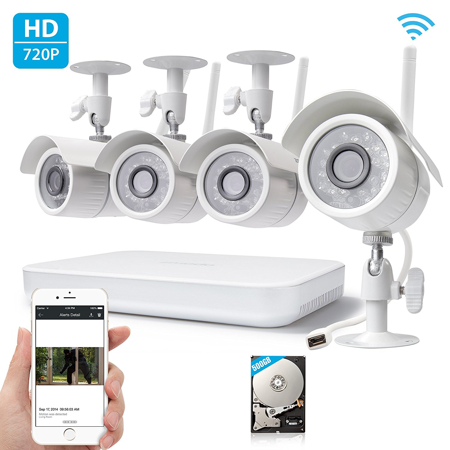 Zmodo 720p High Definition Wireless WiFi Smart Outdoor Indoor Home Video Security Camera System
